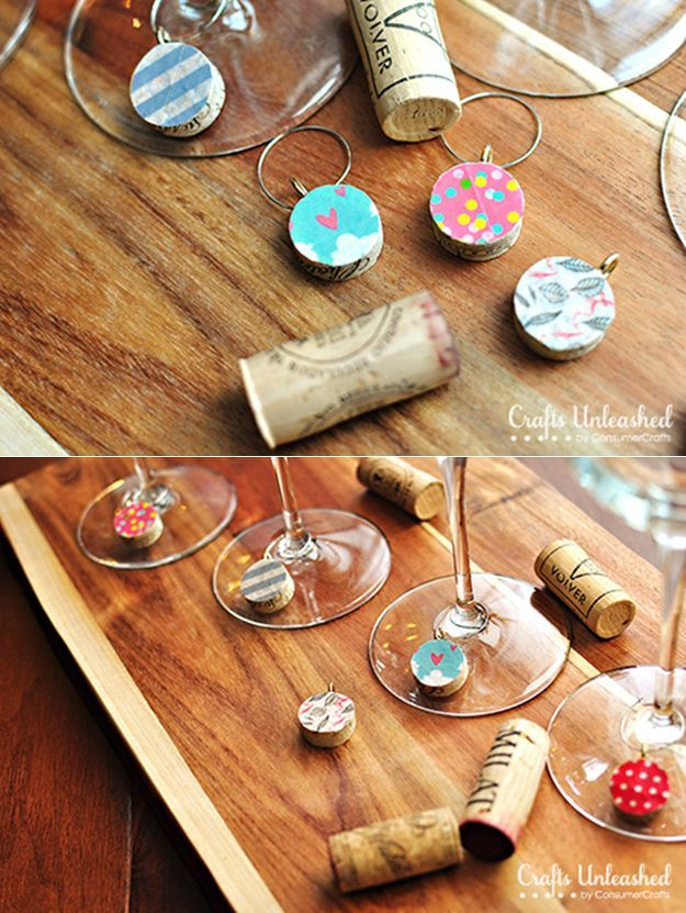 Adorable and Easy Washi Tape Wine Charms | Easy DIY Wine Cork Decor Projects by DIY Ready at http://diyready.com/more-wine-cork-crafts-ideas/