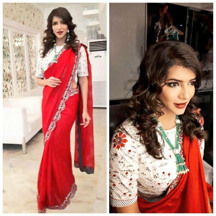 Lakshmi Manchu for  Star maa parivar awards in  ampm fashions and  Aabharanam Jewellers.  Manasa Makeup. 11 June 2017