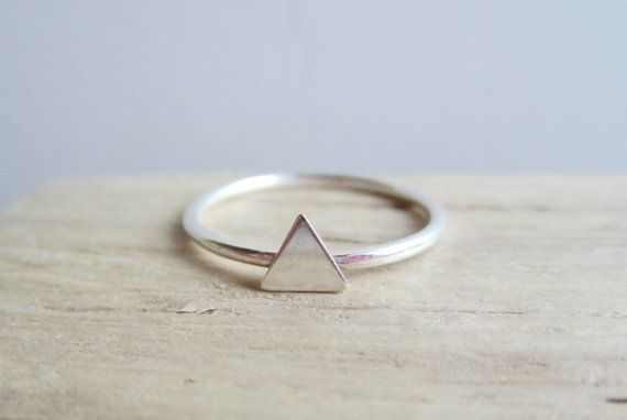 Triangle Sterling Silver Ring by aprilandjune on Etsy, $20.00