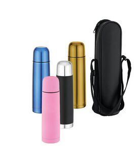 Thermal Bottle - 16 Oz. with double wall insulation and best quality 18/8 stainless steel constructed thermal bottle. Colors; Silver, Pink, Blue, Black and Gold. With lid that doubles as a small cup. Convenient single-hand Push- button pour spout. Accessories; Add a blank carrying case with a shoulder strap for an additional charge