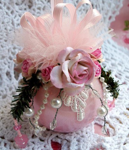Shabby Pearl Pink Glass Christmas Ornament Pearls Chic Pink Roses Crystals | eBay