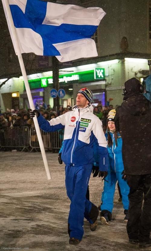 Ski jumper Janne Ahonen, Opening Ceremony, Nordic World Ski Championships, Lahti, Finland, February 2017