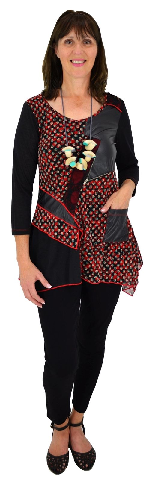 Red Leatherette Patch Tunic