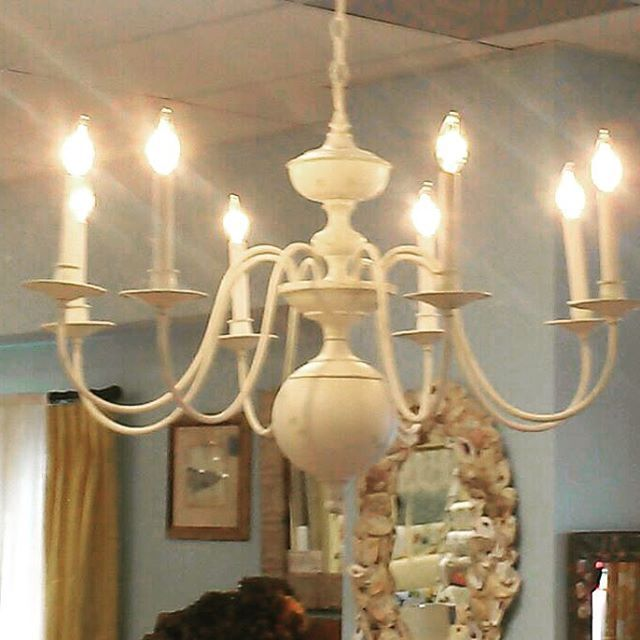 """#shabbychic #chandelier #tagsale #sale #cottage #white #lighting #prairie #vintage #handpainted #neutral one of a kind! Large 8 arm solid brass old chandelier with artist finish in shabby white with Palladian blue undercoat. About 36"""" wide. $750 includes boxing and UPS in the U.S.  Interested? Email tagsale@DesignFolly.com and post in comments! It's a pretty one!"""