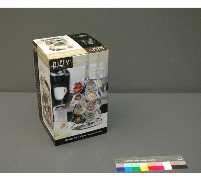 Boîte pour carrousel de café K-Cups pour utilisation avec une machine à café Keurig. Fait en Chine en 2011