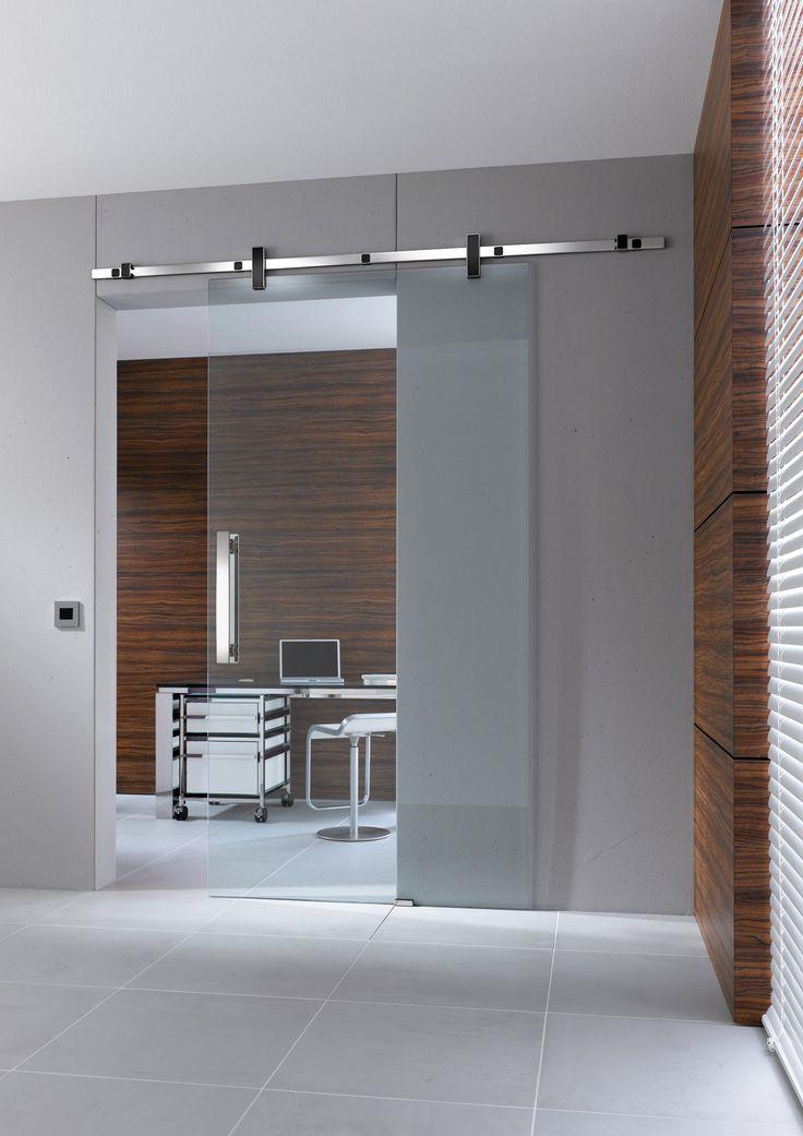 Glazen schuifdeur met vierkante rails   inspiratie werkomgeving   vidre glastoepassingen  