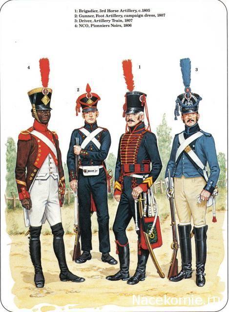 Sottufficiale dei pionieri neri, cannoniere dell'artiglieria a piedi, cannoniere dell'artiglieria a cavallo e conduttore del treno