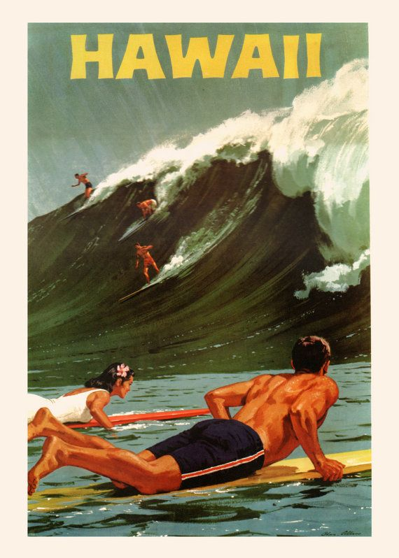 HAWAII SURF POSTER Retro Surfing Poster by EncorePrintSociety