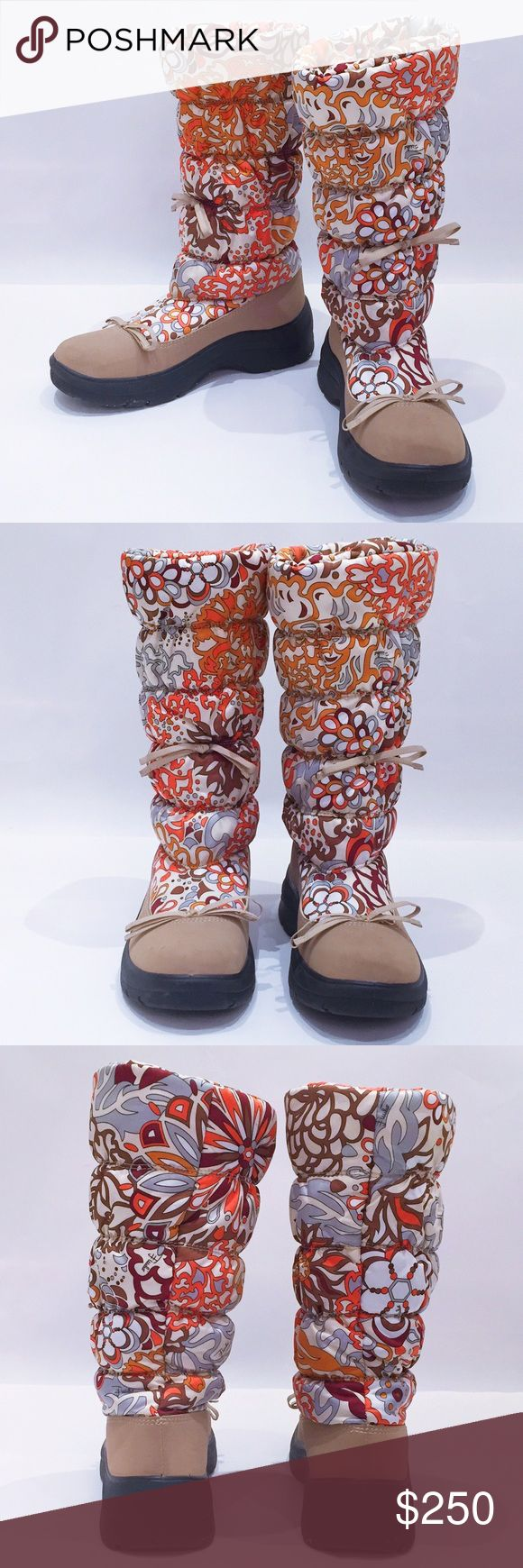 Emilio Pucci Snow/Rain Boots Pucci nylon boots. Perfect for cold and rainy weather. Tan and pastels make these boots stand out among other drab snow boots. Emilio Pucci Shoes Winter & Rain Boots