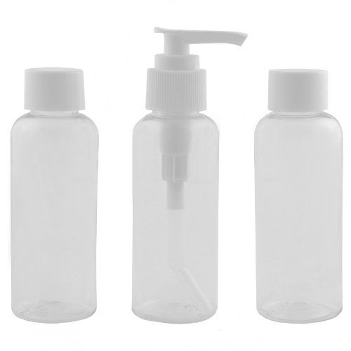 AMOS 3 Piece Plastic Clear Transparent Air Flight Holiday Travel Airport Liquid Restrictions Approved Cosmetic Toiletry Gym Bottles Set + Di...
