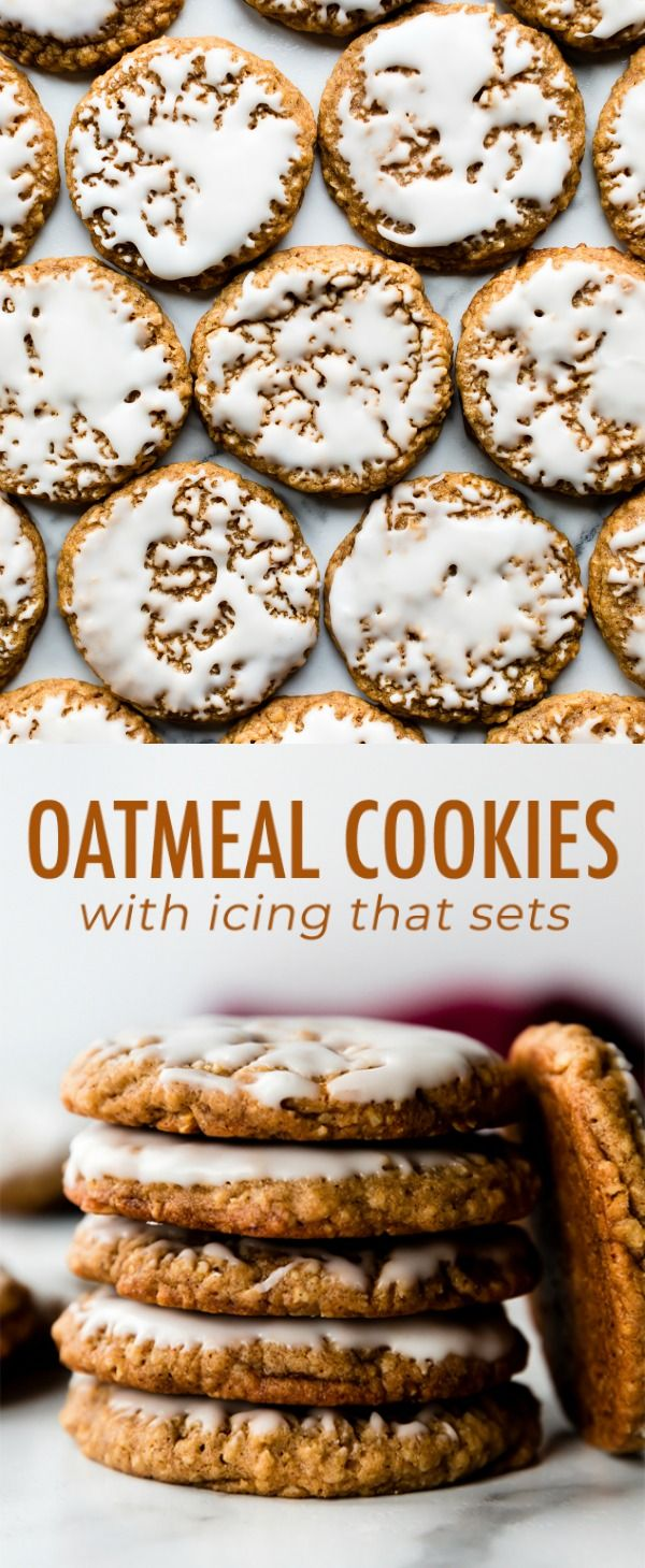 These classic iced oatmeal cookies are old-fashioned style with soft centers, crisp chewy edges, and are topped with vanilla icing that sets after a couple hours. Recipe on sallysbakingaddiction.com