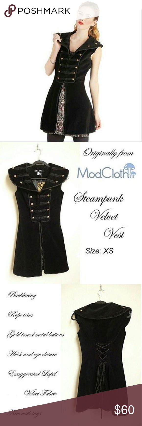 Modcloth Steampunk Black Velvet Vest Dress XS NWT Spin Doctor Black Steampunk Goth Victorian Velvet Vest Dress XS NWT  This Kariena Waistcoat is made by Spin Doctor originally purchased from  Modcloth. It has an extended lapel with rope trim and a colonial military style. Hook and eye closure inside and gold toned metal buttons in the front.  Measurements Bust: 32 inches  Waist: 26 inches  Hips: 33 inches  Length from top of shoulder: 31 inches Modcloth Dresses Mini