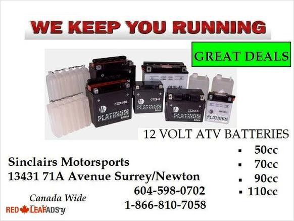 12 VOLT BRAND NEW ATV MINI BIKE BATTERIES (surrey/newton) 12 VOLT BRAND NEW ATV BATTERIES (surrey/newton) AS WELL AS ELECTRIC SCOOTER BATTERIES. 50CC 70CC 90CC 110CC GREAT deals ...