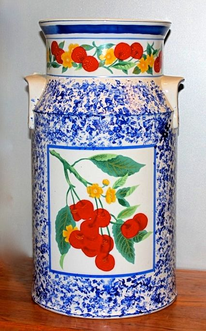 """Vase - Milk Jug -   Standing 18"""" tall x 10"""" across...painted design is on both sides  Order # 95188 ..... $50"""