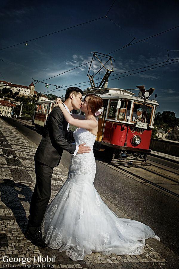 Pre-wedding photo shoot in Prague - Prague vintage tram, view more at www.praguepreweddingphoto.com