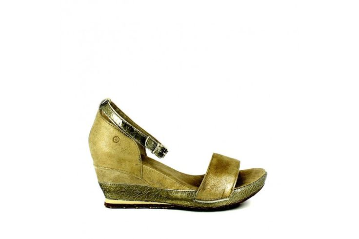 Passion Gold   Sandal in real suede with laminated inserts. Adjustable strap, rubber sole and wrapped wedge 7cm high
