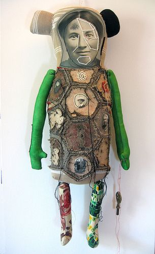 French artist Cecile Perra embroidered puppet.