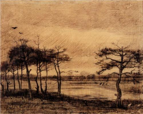 Pine Trees in the Fen - Vincent van Gogh 1884. Nunen / Nuenen, Netherlands. Pencil and ink on paper.