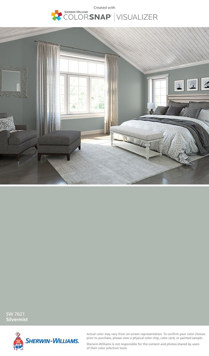 I found this color with ColorSnap® Visualizer for iPhone by Sherwin-Williams: Silvermist (SW 7621).