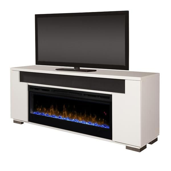 Odesos 72 Tv Stand With Glass Ember Firebox And Soundbar White Tempered Glass Door Tv Stand Fireplace Glass Doors