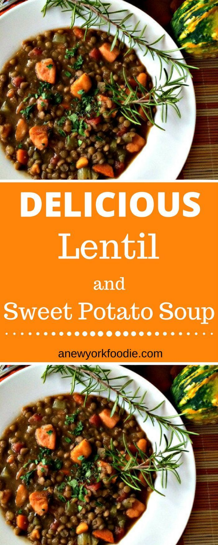 Delicious Lentil and Sweet Potato Soup - Seriously flavorful and delicious! A great way to use up your sweet potatoes.   #soups #autumn #autumnrecipes #vegetarian