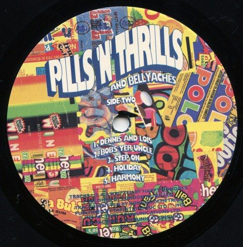 HAPPY MONDAYS - Pills n Thrills and Bellyaches LP 1990 / A peek at the Side B label designed by Central Station in Manchester.