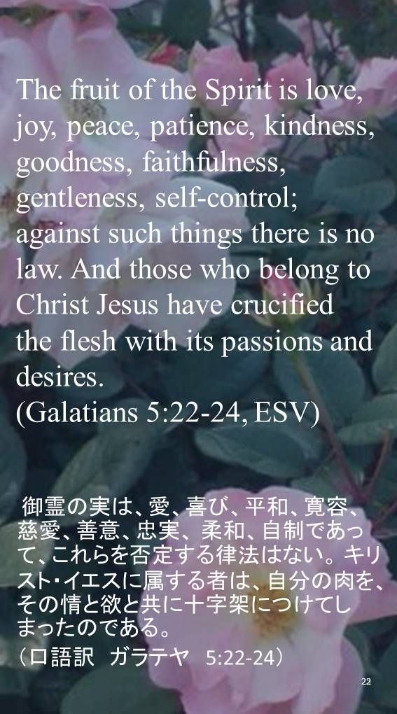 The fruit of the Spirit is love, joy, peace, patience, kindness, goodness, faithfulness, gentleness, self-control; against such things there is no law. And those who belong to Christ Jesus have crucified the flesh with its passions and desires.(Galatians 5:22-24, ESV) 御霊の実は、愛、喜び、平和、寛容、慈愛、善意、忠実、 柔和、自制であって、これらを否定する律法はない。 キリスト・イエスに属する者は、自分の肉を、その情と欲と共に十字架につけてしまったのである。 (口語訳 ガラテヤ 5:22-24)