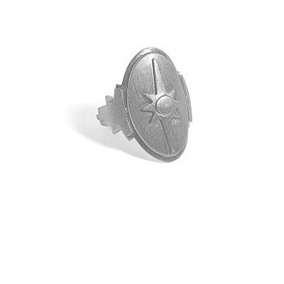 Skjoldring i mat, sort rhodium sterling sølv.