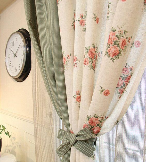 Big flower window curtain Cotton Linen Fabric,handmade Curtain fabric/ / tablecloth/pillow fabric/sheet fabric- 1/2 yard