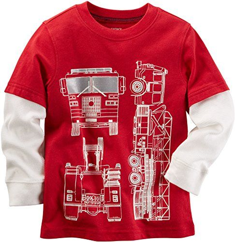 Carters Boys 2T8 Long Sleeve Layered Firetruck Tee 7 ** To view further for this item, visit the image link.Note:It is affiliate link to Amazon.