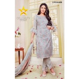 Grey Silk Embroidered Suit Set An escapade of breathtaking floral that is timeless season after season.This beautiful grey suit set with intricate flower embroidery all over the suit poised with cutdana border.It is paired with matching dupatta and bottom for graceful look.