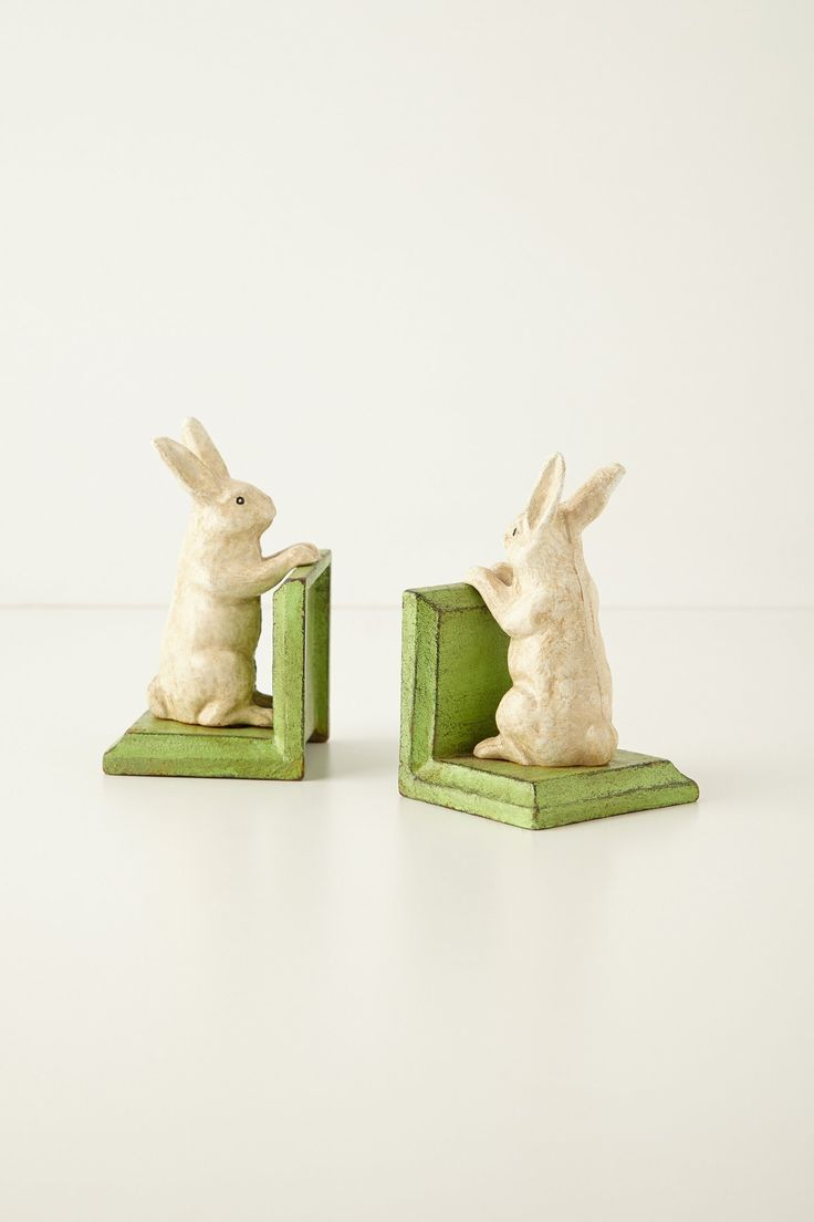 Handpainted Bunny Bookends - Alice in Wonderland inspired baby room