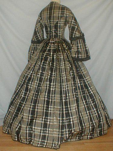 Civil War Era 1860's Plaid Silk Dress Museum de Accessioned   eBay
