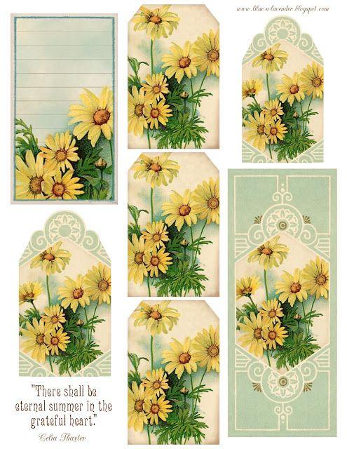 Eternal Summer ~ Daisies: Printable with daisy tags, bookmark, journal card