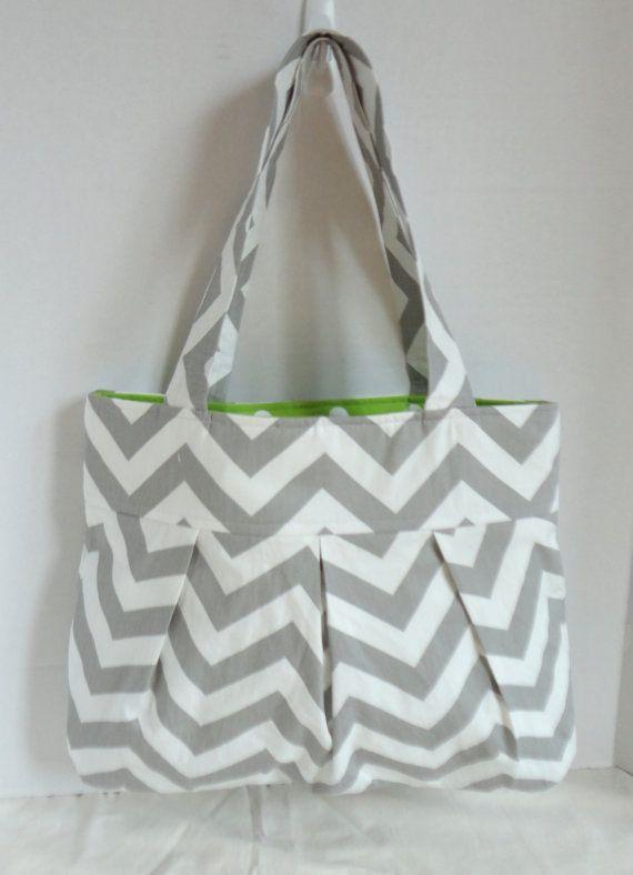 Chevron purse hand bag diaper bag in gray chevron by EBeanDesigns, $45.00