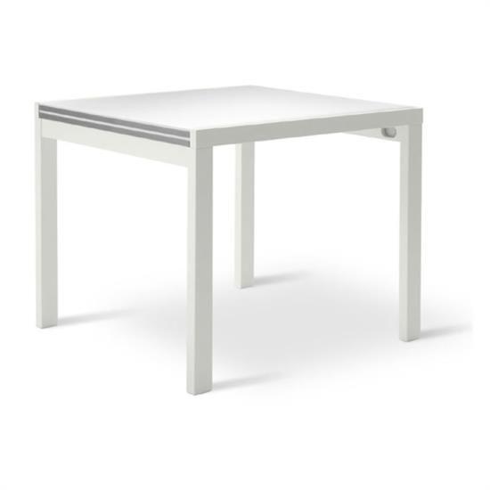 Tavolo quadrato allungabile con bordo in alluminio bicolore