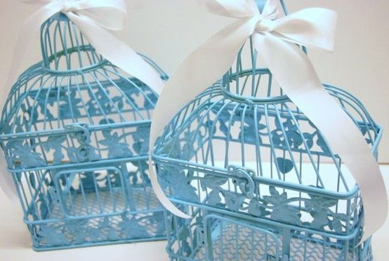 Tiffany blue bird cages. Beautiful. :)