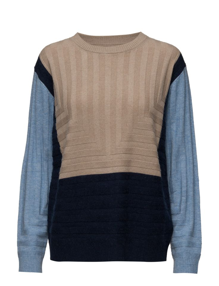 2nd Sofie (Shirt Blue) - DAY BIRGER ET MIKKELSEN Colour blocking Crew neckline Drop shoulder seams Pullover Ribbed collar and cuffs Cool Excellent quality and fit Modern Jersey Knitwear Winter
