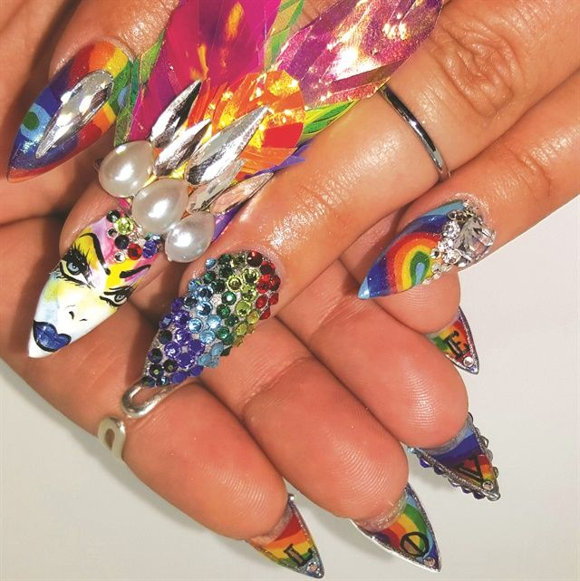 32 best fantasy nail art images on pinterest beautiful nail art pride nails rainbow jeweled nails with underside art prinsesfo Choice Image