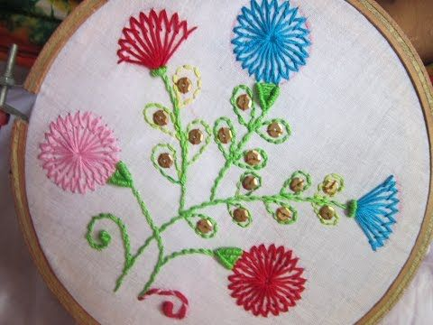 Hand Embroidery Designs   Shafali flower stitches   Stitch and Flower-82 - YouTube