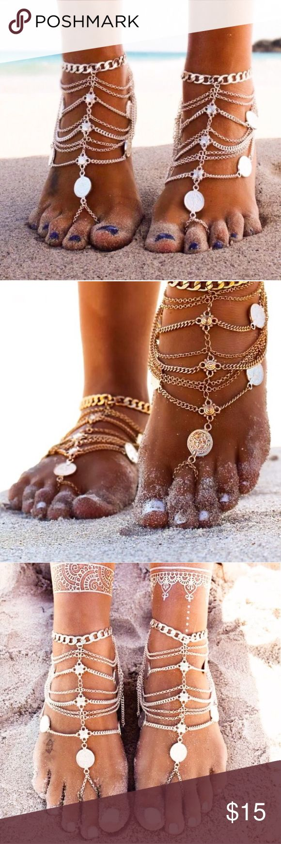 "Single Bohemian Foot Chain Wear this to the beach🏖, your favorite festival 🎡, or just because it's so damn cute! 🌸 Brand new with tags!  Silver in color. Chain is 6.3"" in length and can be adjusted between 9""-11.8"" around the ankle. This post is for a single chain only! Only one left in stock! Tags: body jewelry Jewelry"