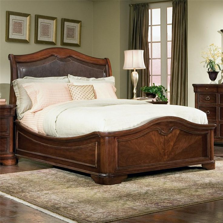 Brown Varnished Teak Wood Bed Frame With Carved Accent And