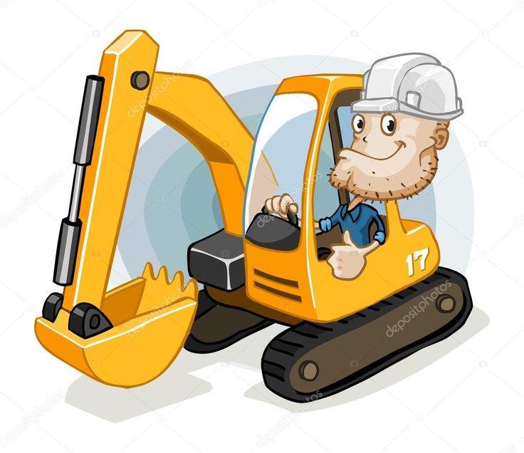 construction equipment operator cartoons images