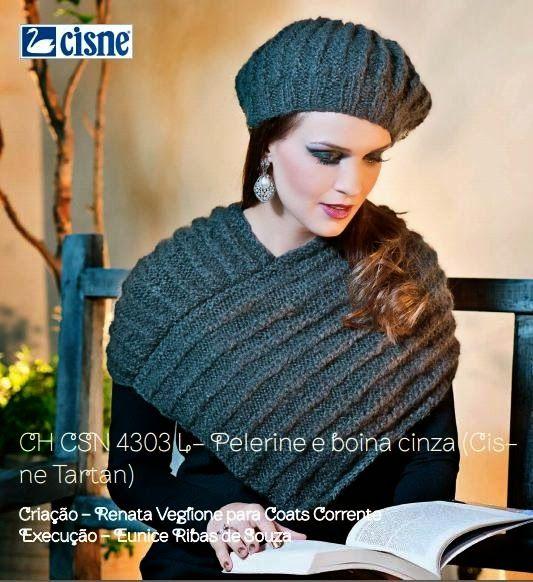 Boina e Pelerine em Tricô com receita e gráfico - Katia Ribeiro Crochê Moda e Decoração Handmade