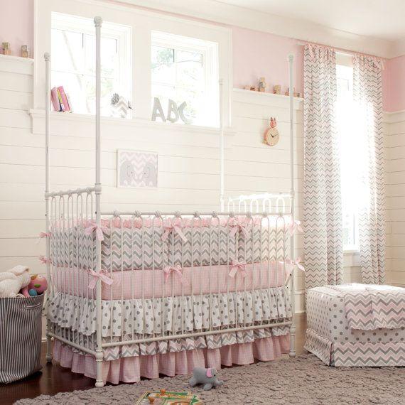 Girl Baby Crib Bedding: Pink and Gray Chevron 4-Piece Crib Bedding Set by Carousel Designs