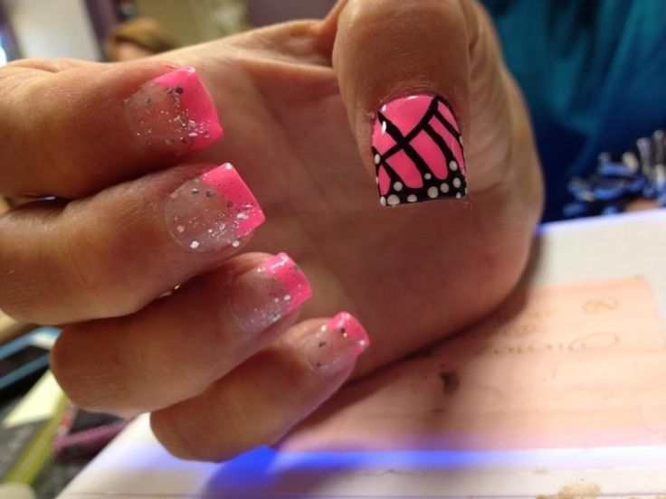 IF REPINNED MAKE SURE TO CREDIT ME. Fiberglass nails: pink monarch butterfly/Freehanded French tip glitter nail art.