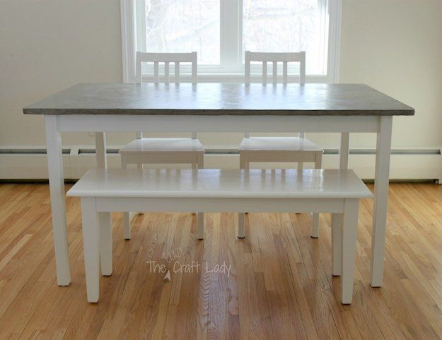 $100 Concrete Dining Set Makeover | Discount Dining Room Sets: Make Your Own With These DIY Projects  Read the rest here: Read the rest here: http://livingroomideas.com/diy-discount-dining-room-sets/