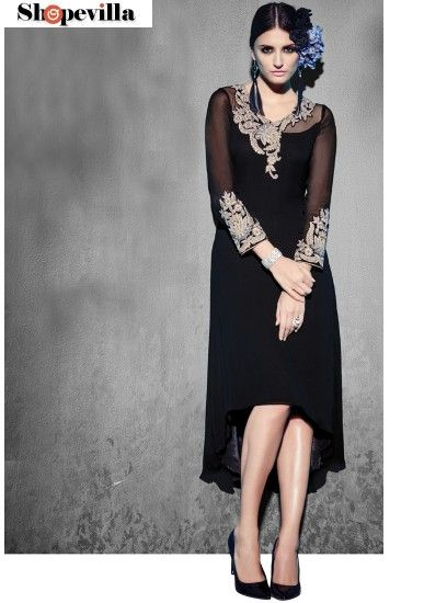 Glamorous Black Georgette Party Wear Kurti-8006