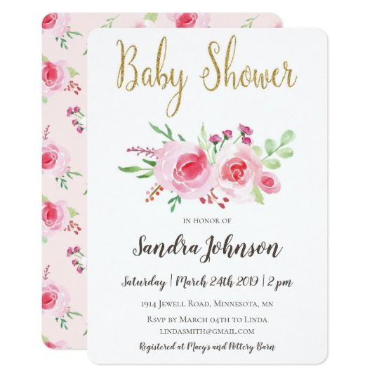 Baby shower invitation with elegant watercolor roses and peonies and gold glitter calligraphy in romantic and vintage style by Amistyle Art Studio on Zazzle