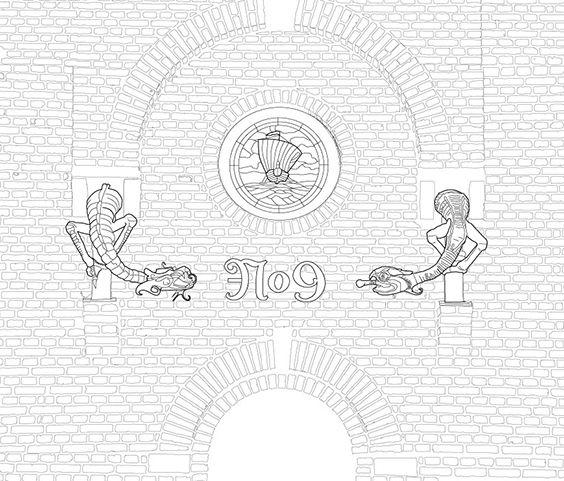 Klosterport, tegning fra Mal Aarhus